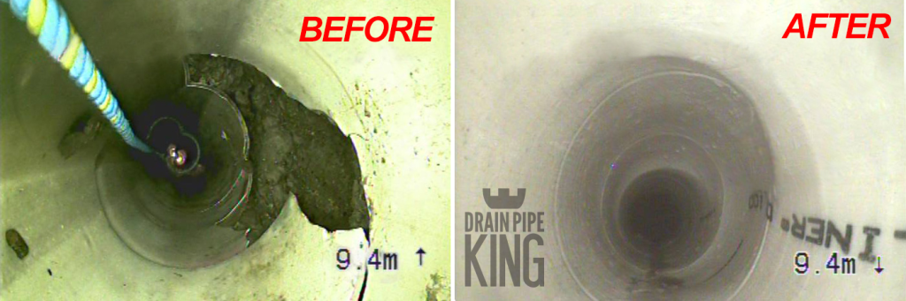 a before and after shot of a pipe that has had relining done in Brisbane.